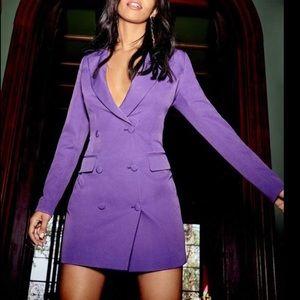 Nasty girl purple tuxedo mini dress